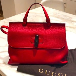 Gucci Red Leather Daily Tote